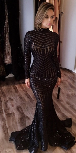 Black Evening Dresses Long Sleeves Sequins Mermaid Prom Dresses Party Dresses