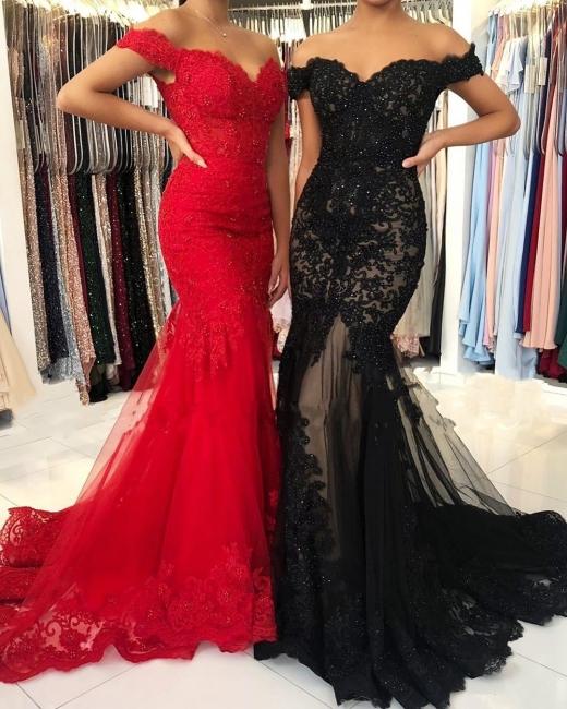 Elegant red evening dresses long | Evening wear black lace