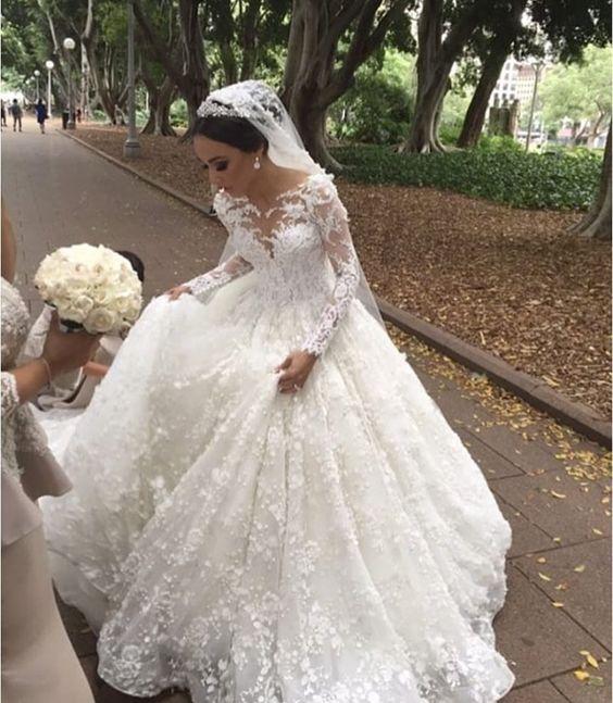 Modern Weiße Brautkleider Mit Ärmel Prinzessin Spitze Hochzeitskleider Günstig