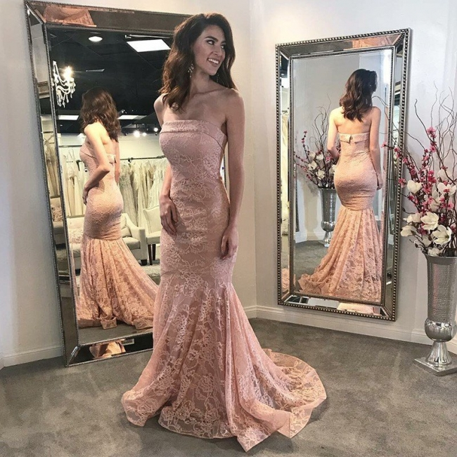 Fashion Pink Lace Long Evening Dresses Pink Evening Wear Prom Dresses Online