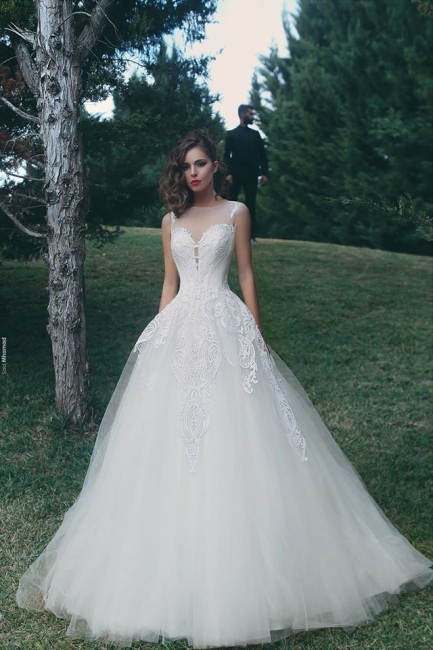Designer Wedding Dresses White With Lace A Line Organza Bridal Gowns Bridal