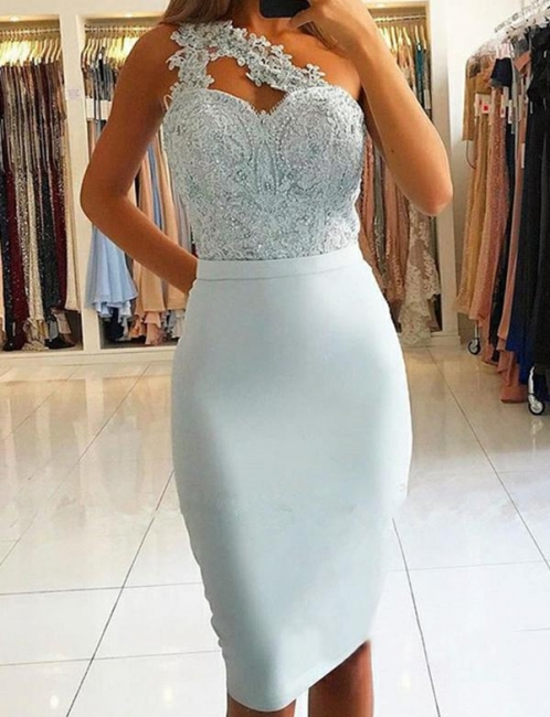 Modern light blue cocktail dresses short prom dresses mini with lace