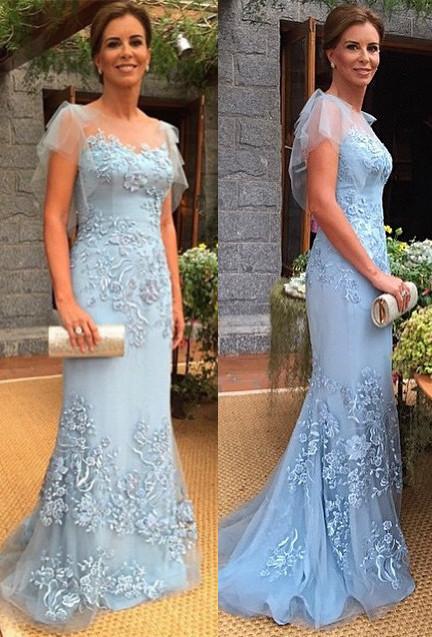 Blau Brautmutterkleider Lang Mit Spitze Meerjungfrau Kleider Für Brautmutter Abendkleid