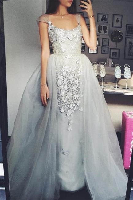 Silber Quinceanera Kleider Günstig Träger Tüll Abendkleider Abendmoden Prinzessin