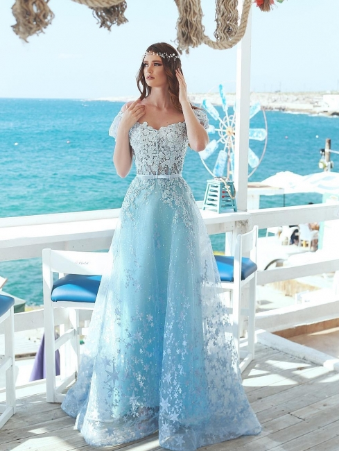 Fashion Blue Evening Dress Long Lace Evening Wear Prom Dresses Online