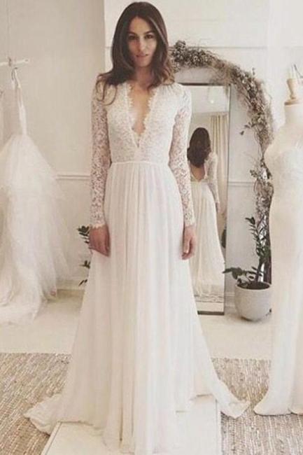 Sommer Weiß Brautkleider Lang Ärmel Spitze Chiffon Hochzeitskleider Brautmoden Günstig