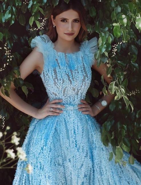 Luxury Evening Dresses Long Blue Evening Wear Lace Prom Dresses Online