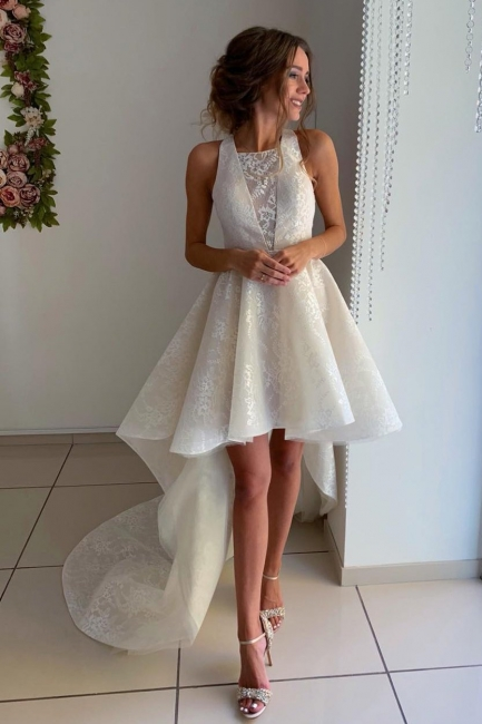 Fashion Wedding Dresses Short Front Long Back | Wedding dress with lace