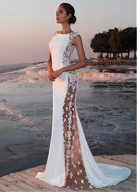 White prom dresses long cheap lace evening dresses evening wear online