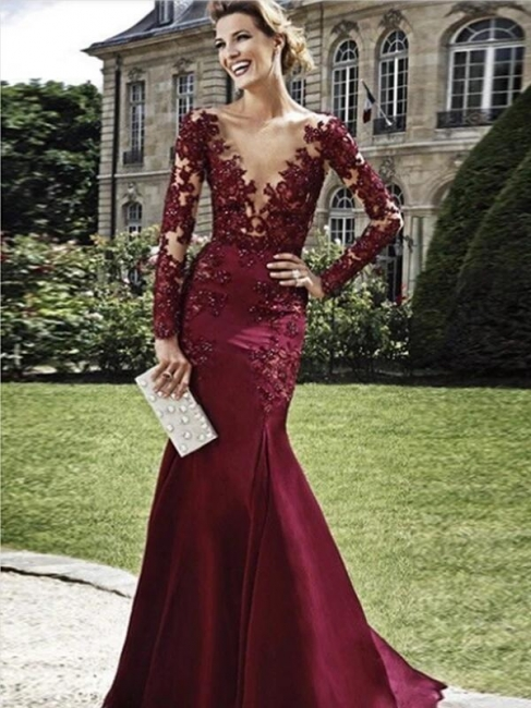 Burgundy Evening Dresses Long With Sleeves | Evening wear with lace
