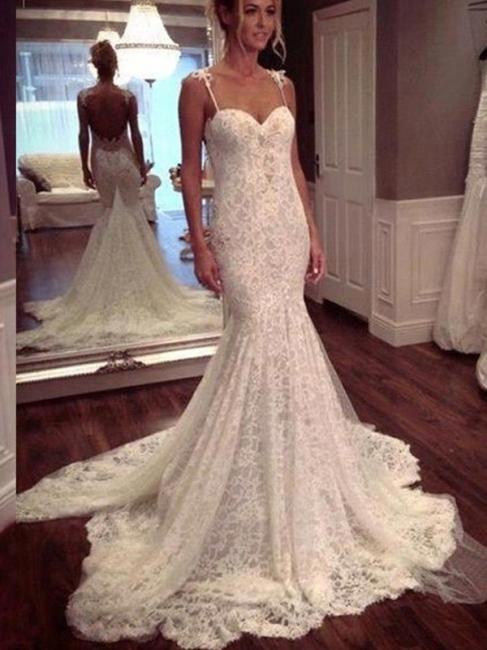 Elegant White Wedding Dresses Lace Spaghetti Straps Mermaid Bridal Gowns Cheap
