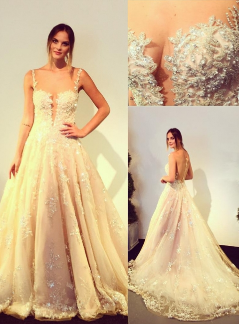 Elegante Brautkleider Weiß A Linie Spitze Brautmoden Perlen Hochzeitskleider