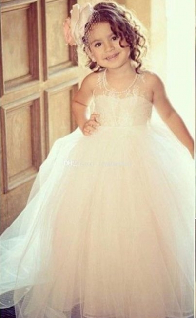 Princess flower girl dresses tulle floor length dresses for flower children wedding