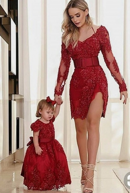 Elegante Rote Abendkleider Kurz Mini Mutter Abendmoden Spitze