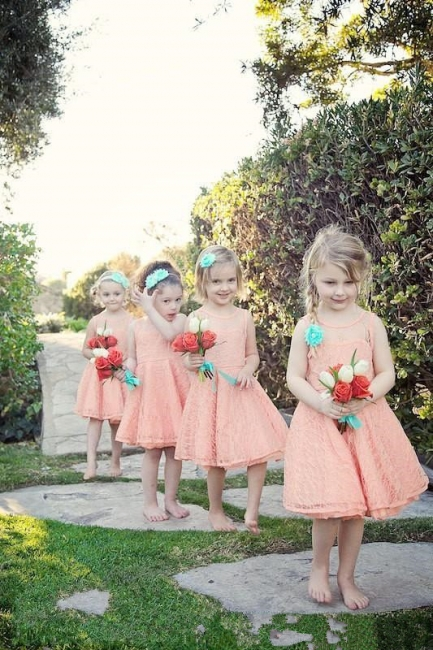 Sweet flower girl dresses cheap a line lace short dresses for kid