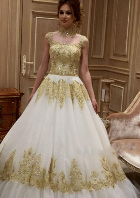 Golden white wedding dresses with lace a line wedding gowns cheap online