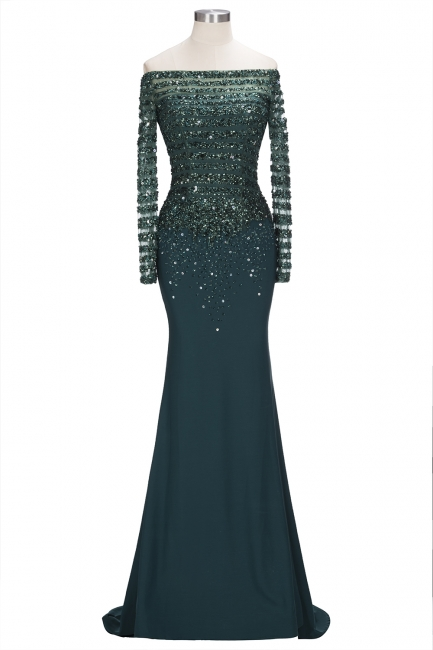 Dark Green Evening Dresses With Sleeves Crystal Prom Dresses Long Cheap