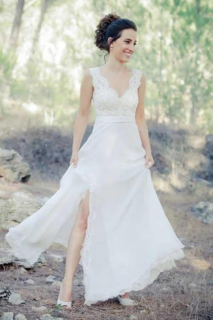Simple Chiffon Summer Dresses Bridal Gowns With Lace Floor Length Wedding Dresses