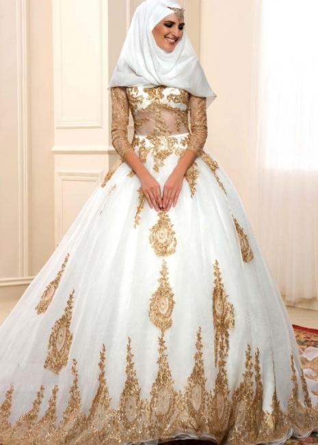 Goldene Weiße Brautkleider Mit Ärmel A Linie Organza Hochzeitskleider Online