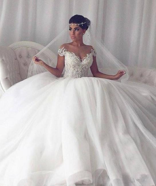 Elegant Weiße Hochzeitskleider Mit Spitze Prinzessin Tüll Brautkleider
