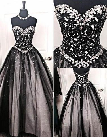 Black Prom Dresses Long Cheap Beaded Prizessin Quinceanera Dresses Cheap