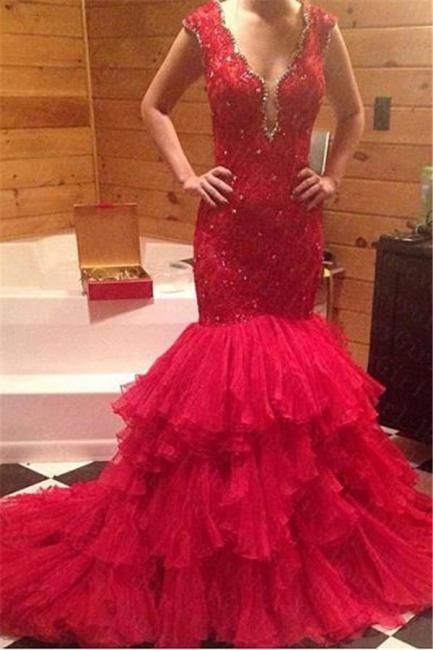 Rot Abendmoden Abschlussballkleider Lang Mit Spitze Organza Meerjungfrau Abendkleider