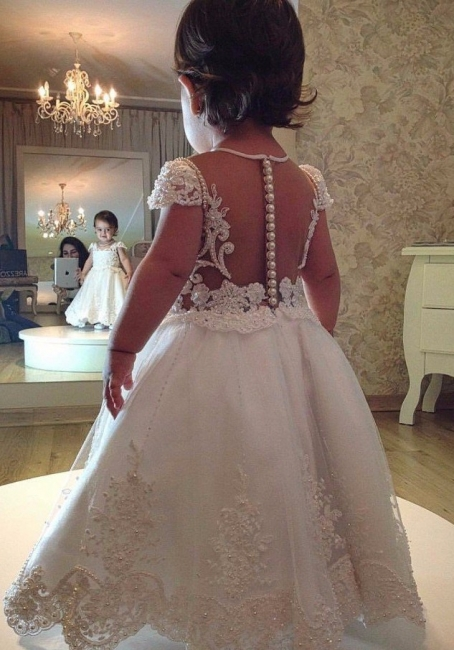 White flower girl dresses long with lace flower girl dresses cheap