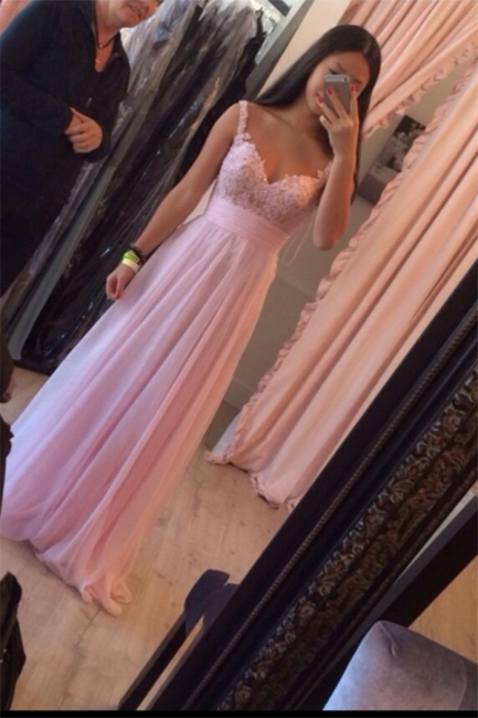 Pink Long Evening Dresses With Lace Chiffon Floor Length Evening Wear Prom Dresses