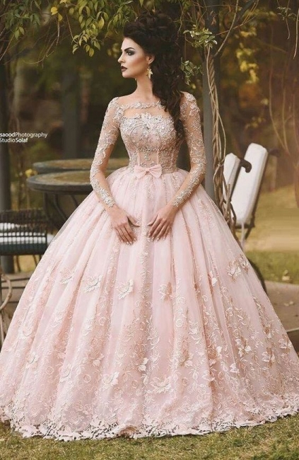 Pink Princess Evening Dresses Lace With Sleeves Evening Wear Prom Dresses