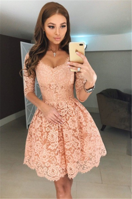 Simple cocktail dresses with sleeves A line lace evening dresses short