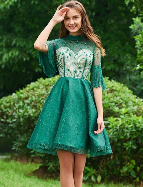 Beautiful Green Cocktail Dresses With Sleeves Short Lace Evening Dresses Online
