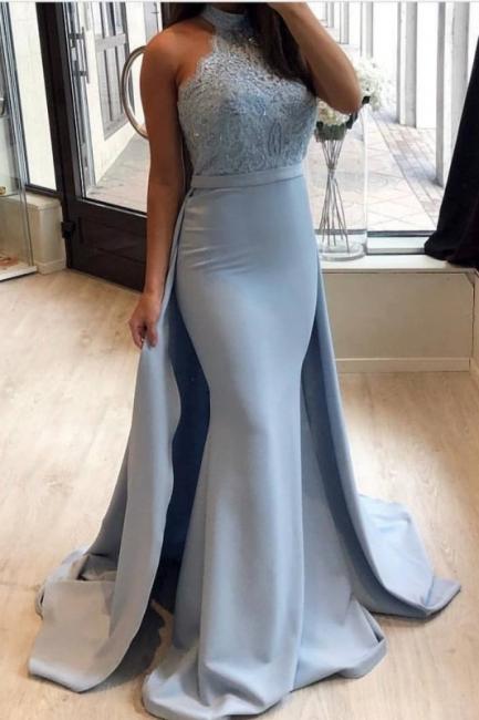 Elegante Blaue Abendkleider Lang Günstig Mit Spitze A Linie Abendmoden Ballkleider