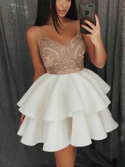 White Cocktail Dresses Short   Prom dresses lace cheap