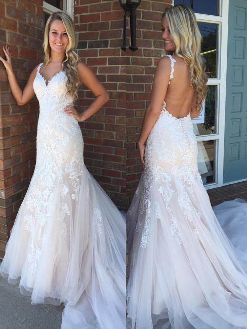 Designer Weiße Brautkleider mit Spitze Meerjungfrau Günstige Hochzeitskleider