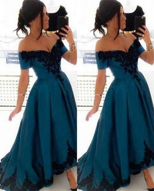 Blau Abschlussballkleider Lang Günstig Schulterfrei Prinzessin Abendkleider Ballkleider