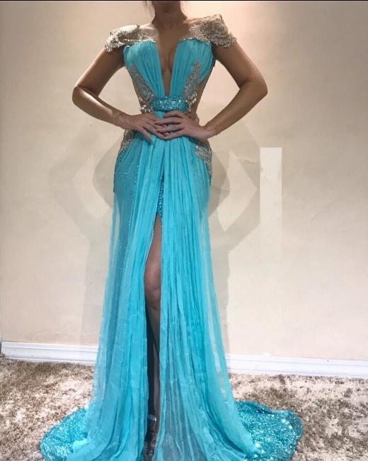 Moderne Blaues Abendkleid | Abendkleider Lang Chiffon Online