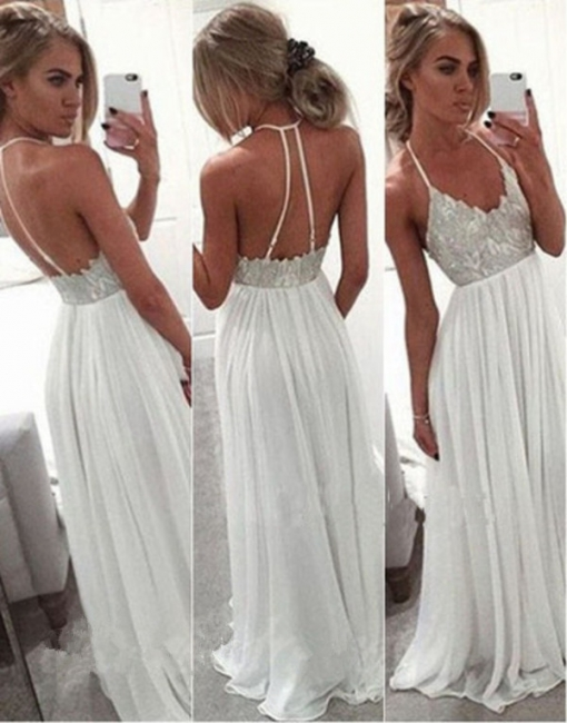 White Evening Dresses Long Chiffon With Lace Floor Length Evening Wear Prom Dresses