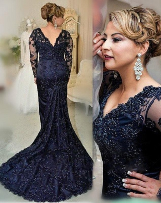 Large Size Evening Dresses Long Sleeves Navy Blue Mermaid Lace Evening Wear Party Dresses