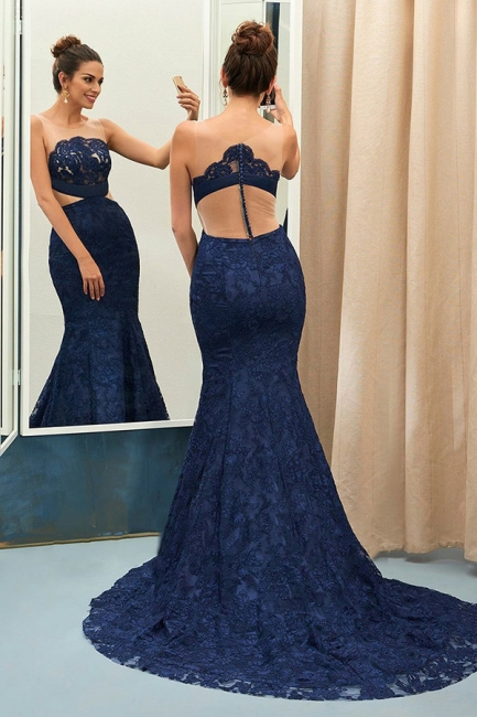 Abendkleider mit Spitze Günstig | Blaues Abendkleid Bodenlang
