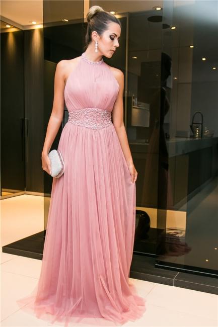 Rosa Abendkleider Lang Günstig Perlen Tüll Bodenlang Abendmoden Aboballkleider