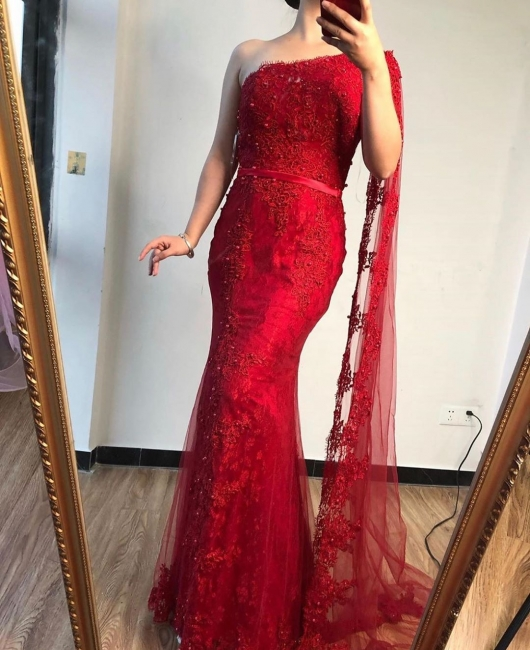 Elegant evening dresses long red | Lace evening wear prom dresses