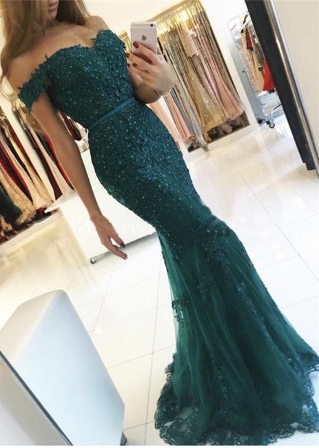 Dunkel Grüne Abendkleider Lang Spitze Meerjungfrau Tüll Abendmoden Abiballkleider