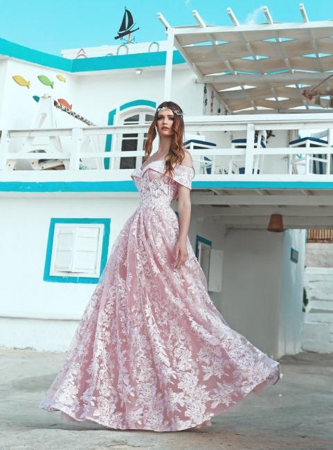 Elegante Abendkleider Rosa Spitze Lang Günstige Abendmoden Abiballkleider