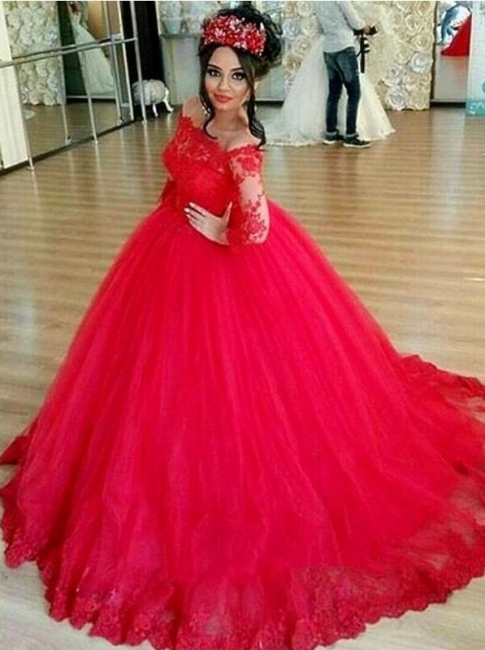 Luxury Long Sleeves Evening Dresses With Lace Tulle Evening Wear Party Dresses Cheap