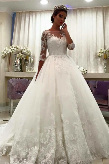 White Wedding Dresses With Sleeves Lace A Line Organza Bridal Wedding Gowns