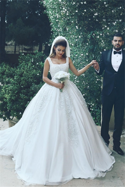 White Wedding Dresses With Lace Princess Satin Wedding Gowns Bridal