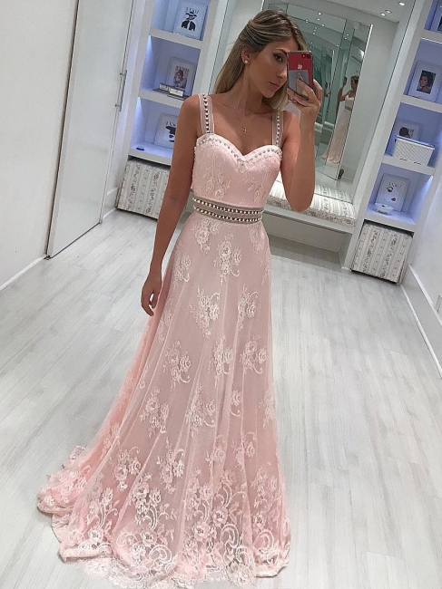 Buy elegant evening dresses long with lace pink evening wear