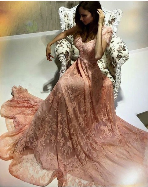 Coral Long Evening Dresses Lace Sheath Dresses Floor Length Evening Wear Prom Dresses