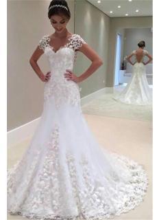 Weiße Brautkleider Spitze 2021 Herzförmig Rückenfrei Brautmoden Hochzeitskleider Meerjungfrau