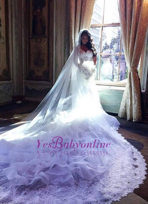 White Wedding Dresses Long With Lace Mermaid Organza Wedding Gowns Bridal